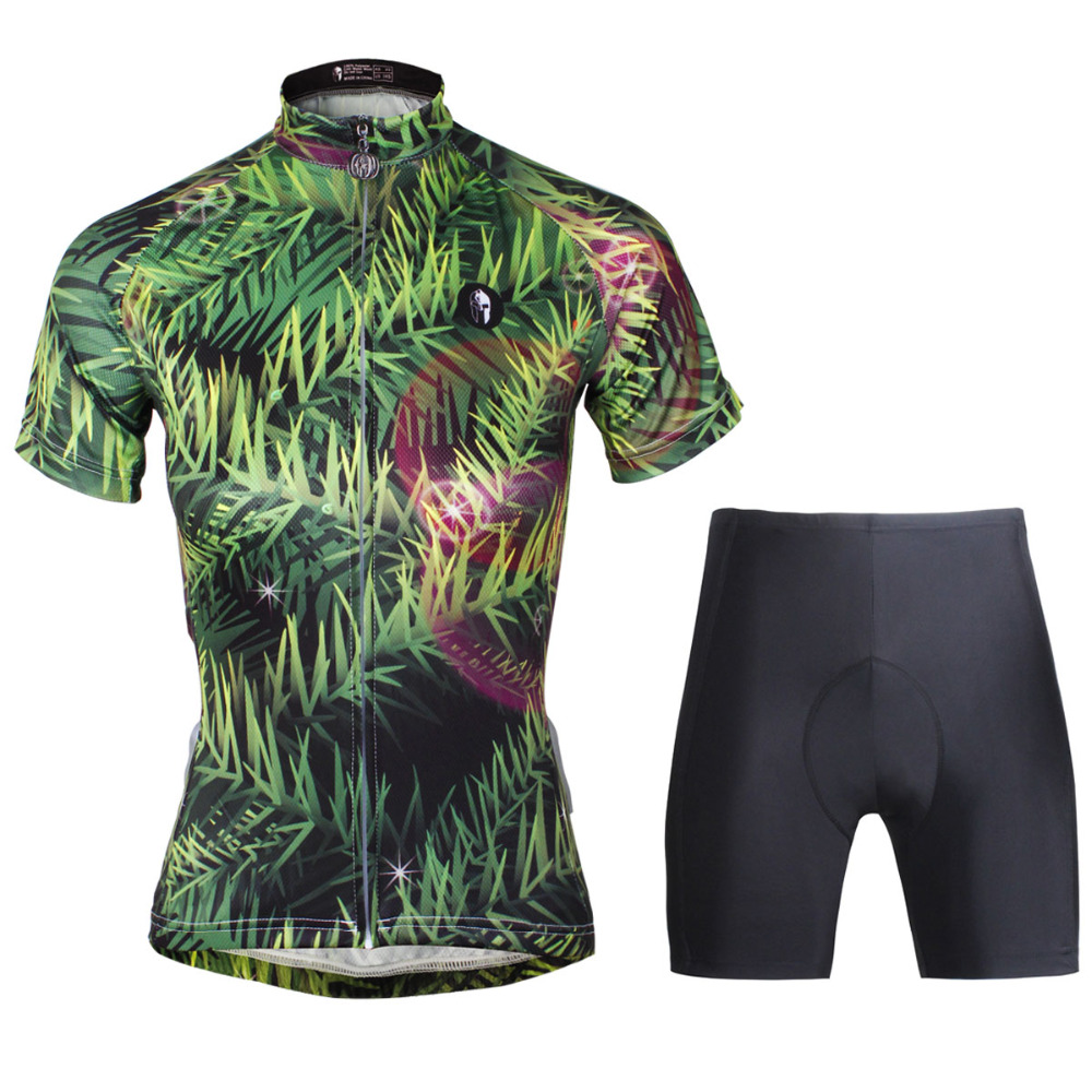 Cycling Jersey WomenGreen Grass Cycling Clothing Women Short Sleeve Cycling Jersey Cycling Sets X756