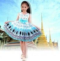 Pavão bonito da menina de natal presentes de aniversário vestido de trajes de Halloween fantasia saia princesa