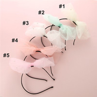 20pcs Solid Lace Pearl Bow Elastic Hairbands For Kids Yarn Veil Plastic Headhoop Headband lace Bow Girls Hair Accessories