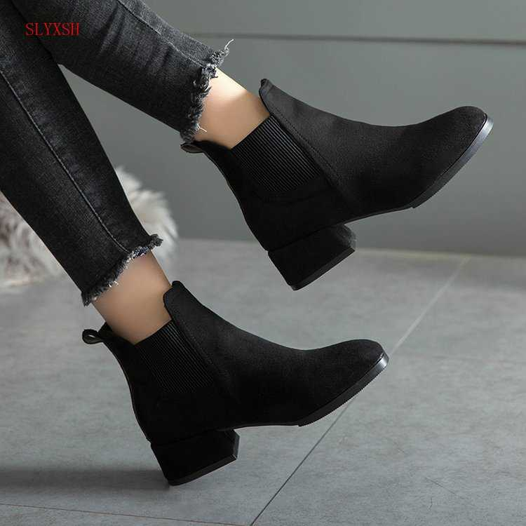 Autumn Winter Boots women Camel Black Ankle Boots For Women Thick Heel Slip On Ladies Shoes  Boots Bota Feminina 35-41