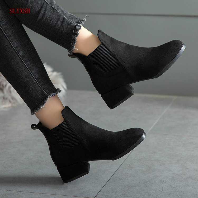 Outono Botas de Inverno mulheres Camelo Preto Ankle Boots Para As Mulheres Deslizamento Em Sapatas Das Senhoras Botas de Salto Grosso Bota Feminina 35 -41