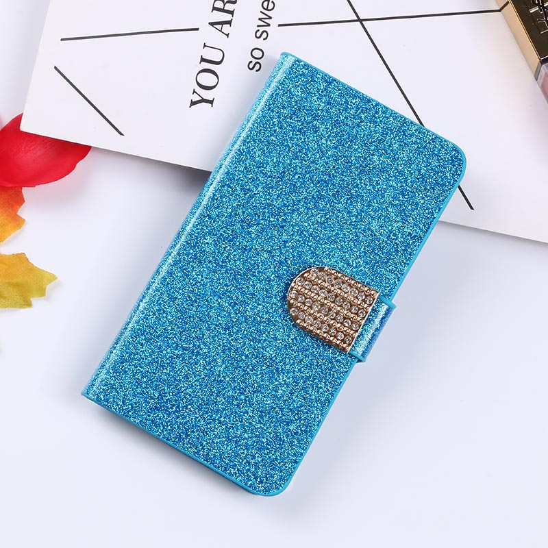 QIJUN Glitter Bling Flip Stand Case For Alcatel One Touch Idol 2 3 4S 5 6037 6039Y 6045Y 6070 6060Y Wallet Mobile Phone Cover in Flip Cases from Cellphones Telecommunications