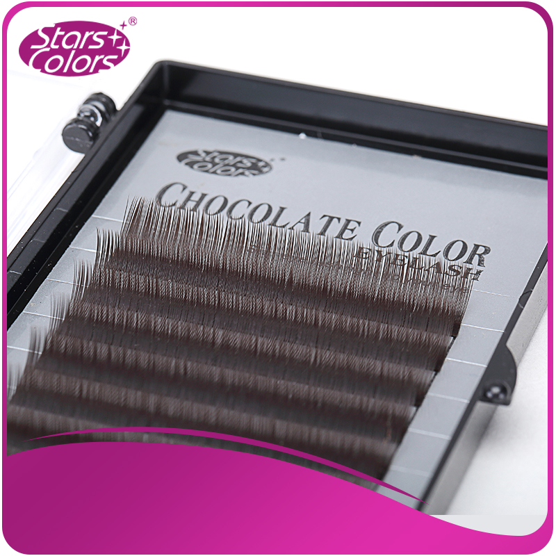 Hot sell thick eyelash color chocolate lash Extensions false eyelash single eyelashes nature Brown eye lashes Cilia makeup ...