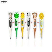 Digital Thermometer Soft Rubber Head Waterproof Adult Children Rectal Oral Axillary Underarm LCD Temperature Measurement Baby