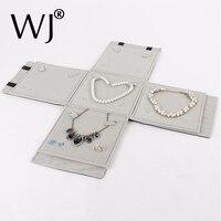Portable Jewelry Storage Display Packaging Travel Case Multi Function Roll Bag Black Velvet Organizer For Bridal