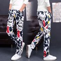 HOT 2016 Branco Impresso Calças Cowboy Floral Moda de Alta Elástica Calças de Lazer dos homens de Dança Hip Hop Moletom Plus Size