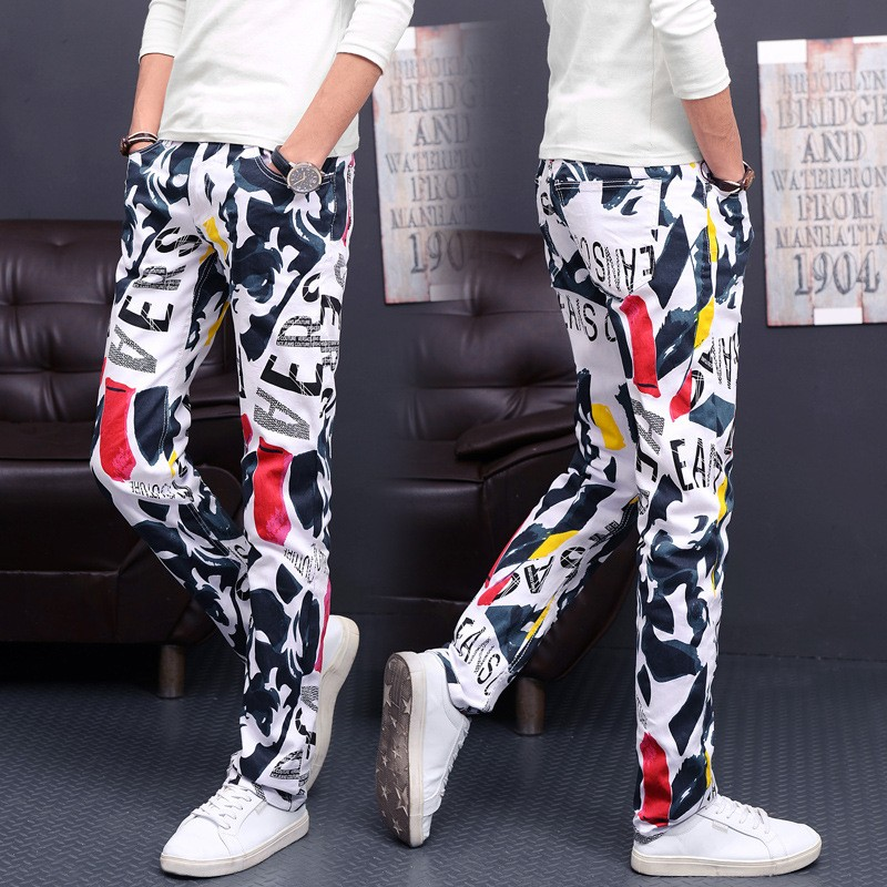 HOT 2019 Printed White Pants Floral Cowboy Men's Fashion High Elastic Leisure Trousers Dancing Hip Hop Sweatpants Plus Size