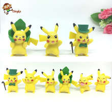 Pocket Monster anime doll toy car decoration in a variety of shapes Pikachu 6 pieces/set of children free gift delivery 0348