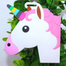 White Horse Unicorn Animal Luggage Tags New Cute Novelty Creative Hang Tag Silica Gel PVC Soft Plastic Boarding Tag(China)