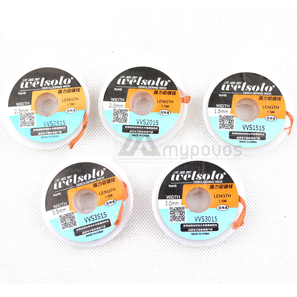 5pcs/lot Solder Wick Remover Desoldering Braid Wire Sucker Cable Fluxed Flux Length 1.5m Width 1.5-3.5mm