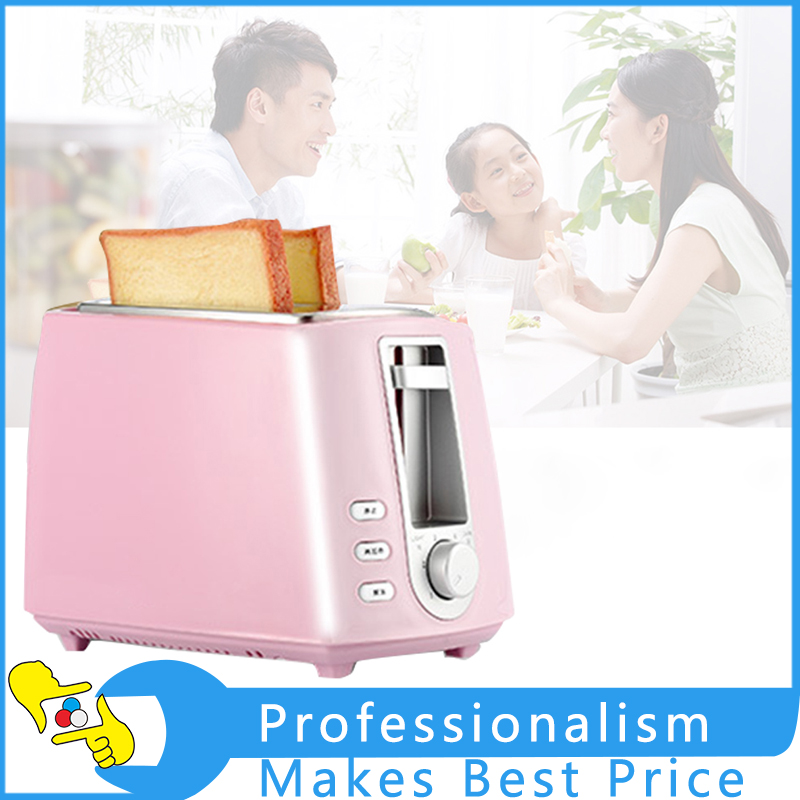 Pink Household Automatic Toaster Breakfast Spit Driver Kitchen Breakfast Machine Heating Thawing Baking 220V cukyi 2 slices bread toaster household automatic toaster breakfast spit driver breakfast machine