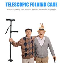 2019 New Telescopic Folding Canes LED Light Aged Walking Sticks Poles for Cane Old Man Non Slip with