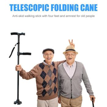 New Telescopic Folding Canes LED Light Aged Walking Sticks Poles for Telescopic Cane for Old Man Non Slip with LED Light anxiaokang safe reliable old man crutches non slip old man s stick telescopic four legged cane walking stick tips for elderly