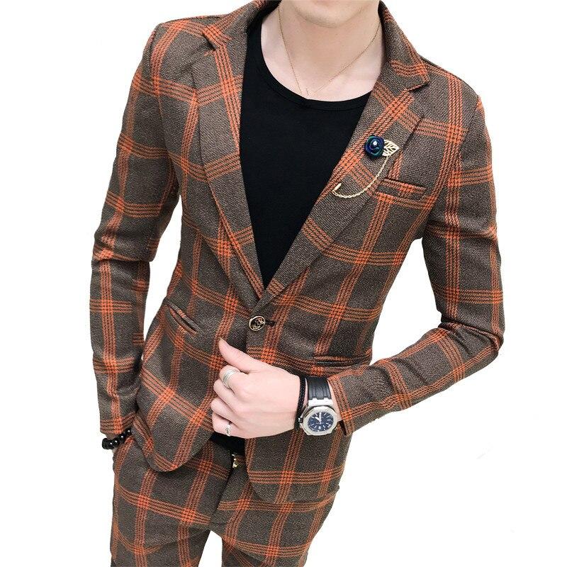 Men's British Style Slim Suit 2 Piece Set / Banquet Fashion Urban Trend (coat + Pants) Boutique High-end Slim Male Suits