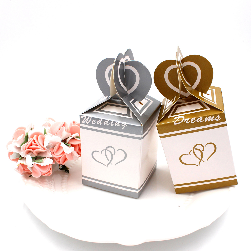 Free Shipping 50pcs/Lot gold and silver double tail Candy box ...