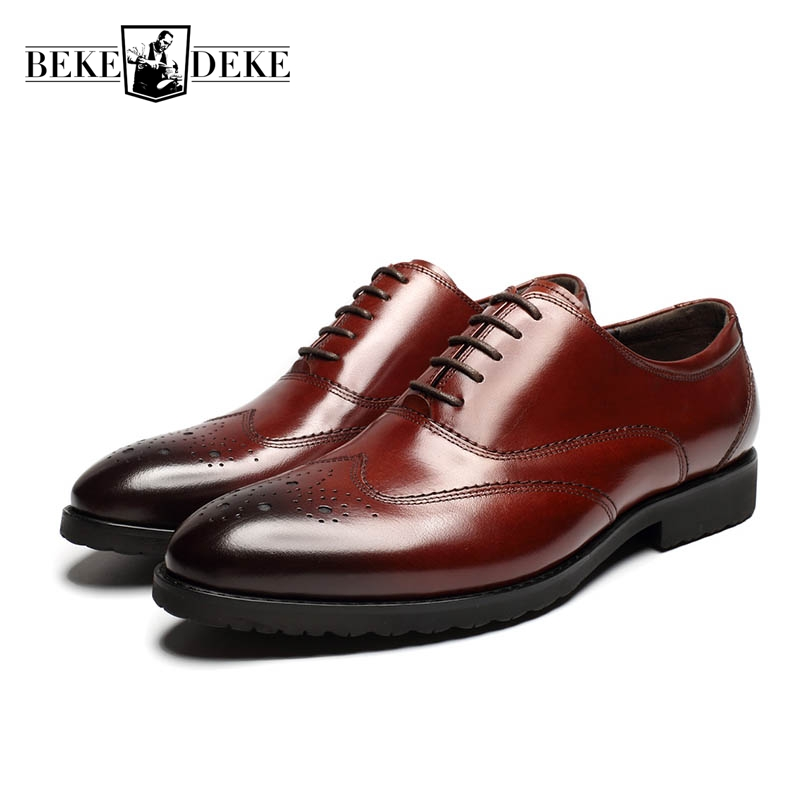 England Style Mens Genuine Leather Cow Lace Up Wing Tip Brogue Shoes Formal Shoes Male Footwear Zapatos Hombre Vestir Black Red 2018 new arrival genuine leather pointed toe lace up mens formal shoes male footwear british retro wing tip high quality scarpe