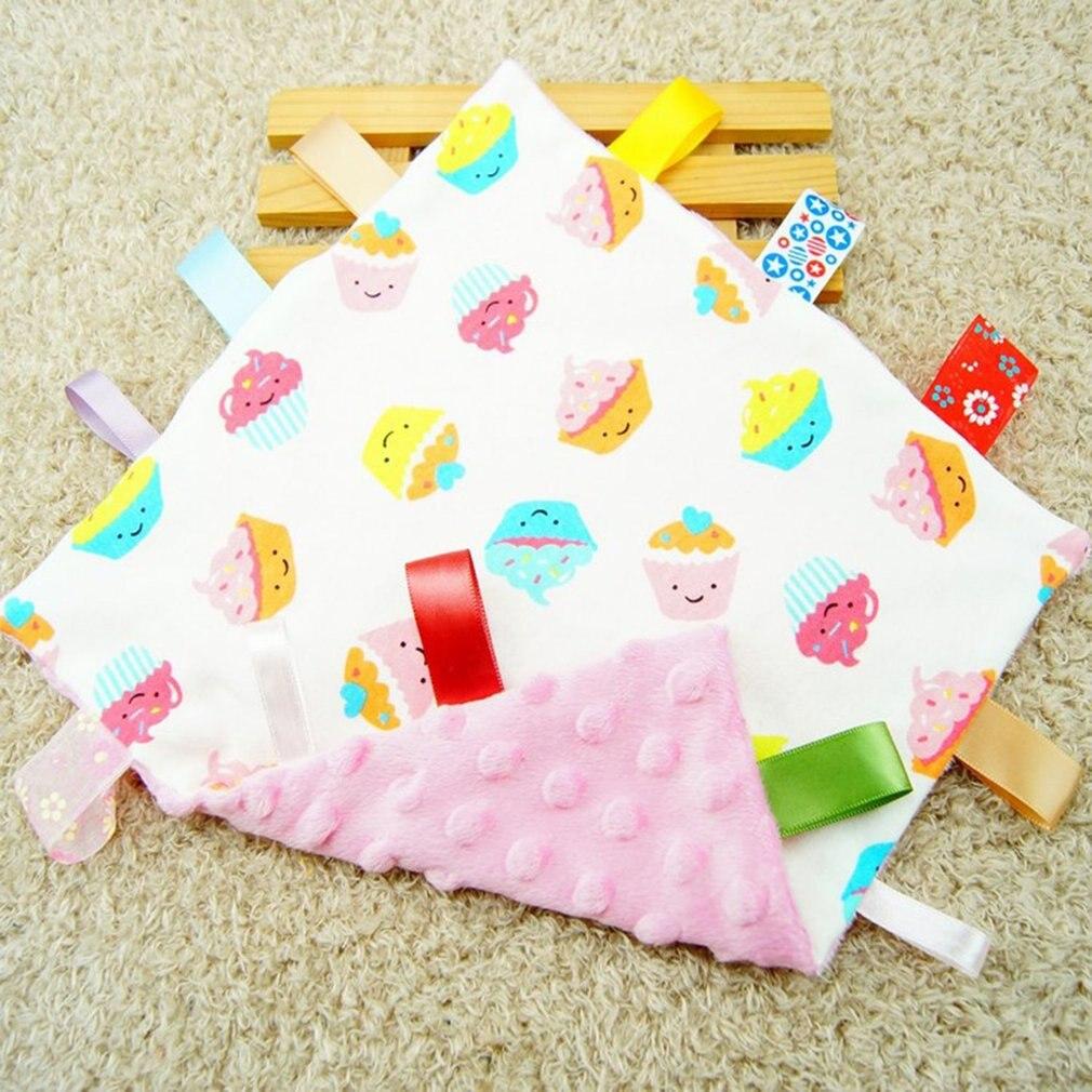 25x25cm Newborn Baby Nursery Hand Towel Baby Bath Towels Infant Security Tag Blanket Colorful Cartoon Warm Baby Soothing Towel