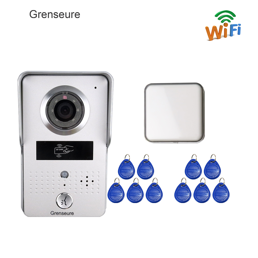 Free Shipping Wireless Wifi IP Doorbell Outdoor Camera for Android IOS Smartphone + RFID Access Video Intercom + Wireless Bell jcsmarts rfid access wireless wifi ip doorbell camera video intercom for android ios smartphone remote view unlock with sd card