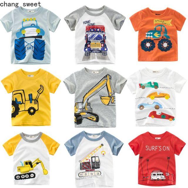 Moda bebé niño de dibujos animados de impresión camiseta niños de dibujos animados de manga corta Tops chicas coche camisetas ropa de algodón ropa de niño carta ropa de los niños