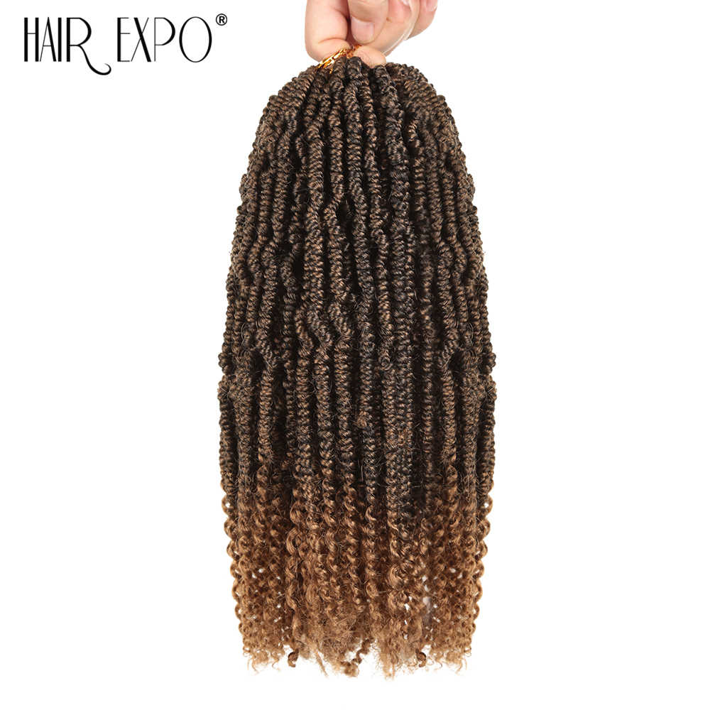 Hair Expo City Bomb Twist Crochet Braids Hair Extension Ombre Synthetic Nubian Spring Kinky Curly Twist  Afro Women