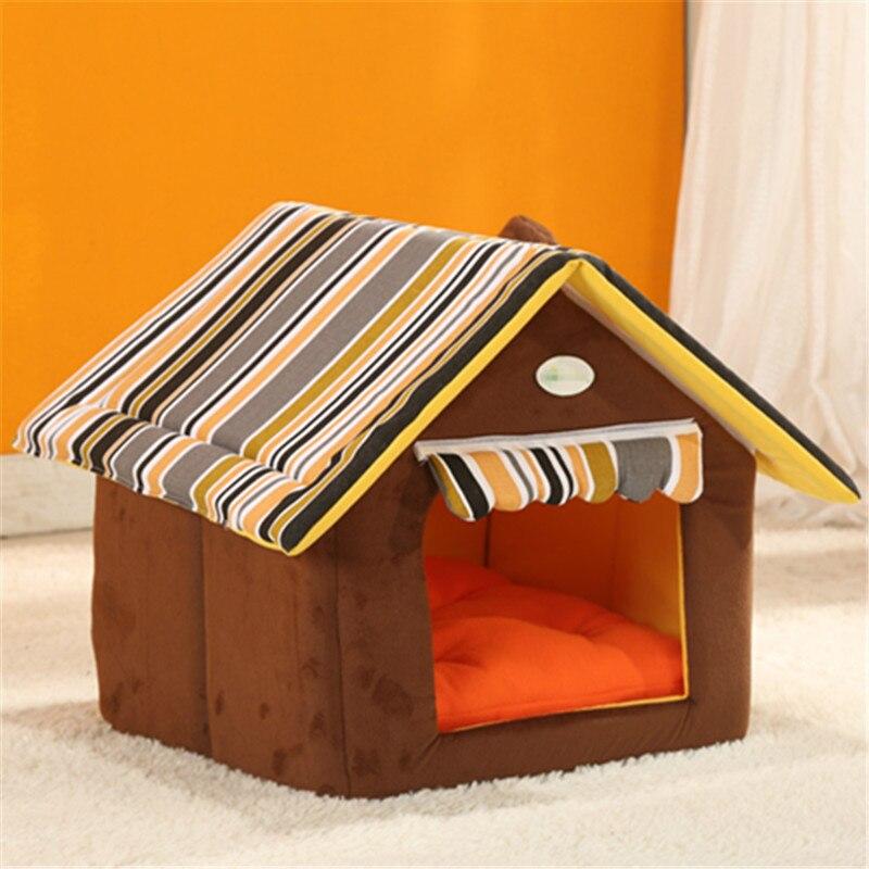 Mode Abnehmbare Waschbar Hund Haus Winter Warme Weiche Form Hund Bett Mit Kissen Für Kleine Mittelgroße Hunde Kennel Nest hund Katze
