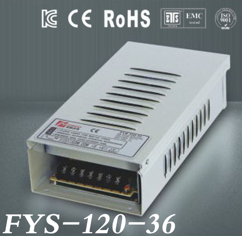 Free Shipping Rain-proof switch Power Supply Driver 36V 3.4A 120W AC110/220V Input CE&RoHS Certified outdoor use (FYS-120-36)