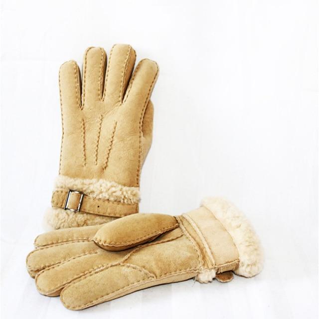 Guantes de invierno de Los Hombres Largos Guantes de Cuero de lana de Cachemira de Piel de Cuero Genuino Guantes Calientes
