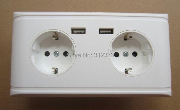 цена на Free Shipping Germany socket type 250V 16A 2 USB DC 5V 2000mA four circle Holes wall Socket white panel Germany style