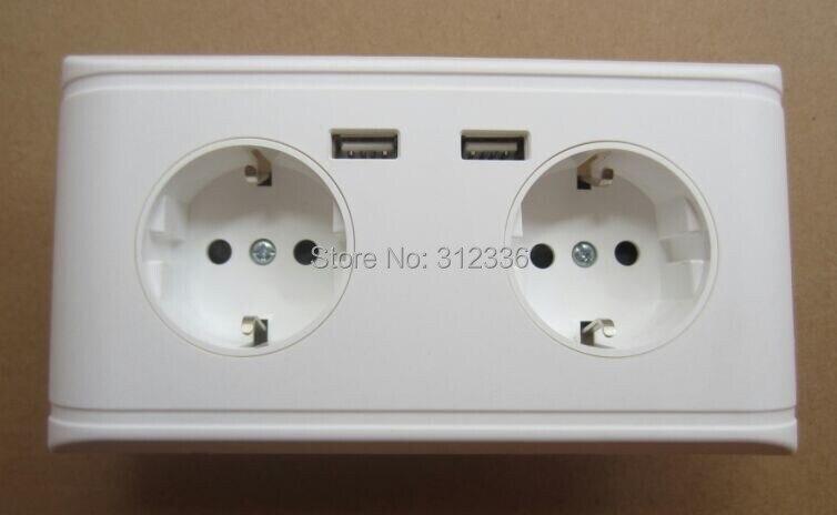 Livraison gratuite allemagne prise type 250 V 16A 2 USB DC 5 V 2000mA quatre trous de cercle prise murale panneau blanc allemagne style