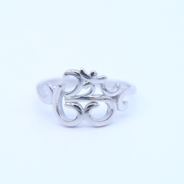 Online Shop New 925 Sterling Silver Ohm Buddhist Aum Om Ring