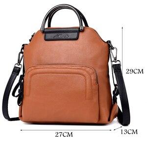 Image 5 - Fashion Women Backpack Large Capacity Travel Backpacks Soft Leather Shoulder Bags for Women Famous Brand Backpack Female Mochila
