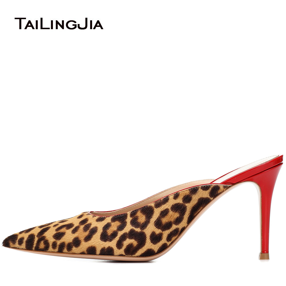 купить Women Pointy Toe High Heel Leopard Mules Sexy Horse Hair Heeled Sandals Evening Dress Heels Ladies Stylish Summer Shoes 2018 по цене 3509.22 рублей