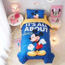 Disney cot Bedding Set Minnie Mickey mouse blue children boy girl bed set duvet cover pillowcase cushion kids gift
