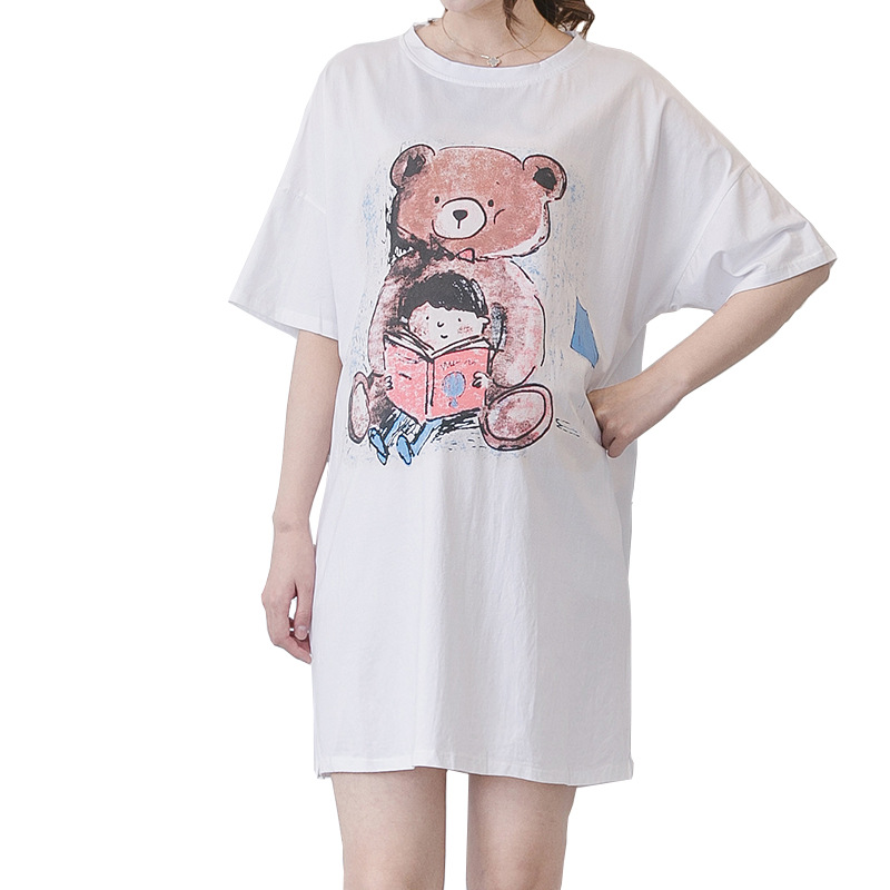 Maternity Dresses Summer 2018 New Short-sleeved Loose Large Printing Bear White Dress Maternity Clothes For Pregnant Woman Dress