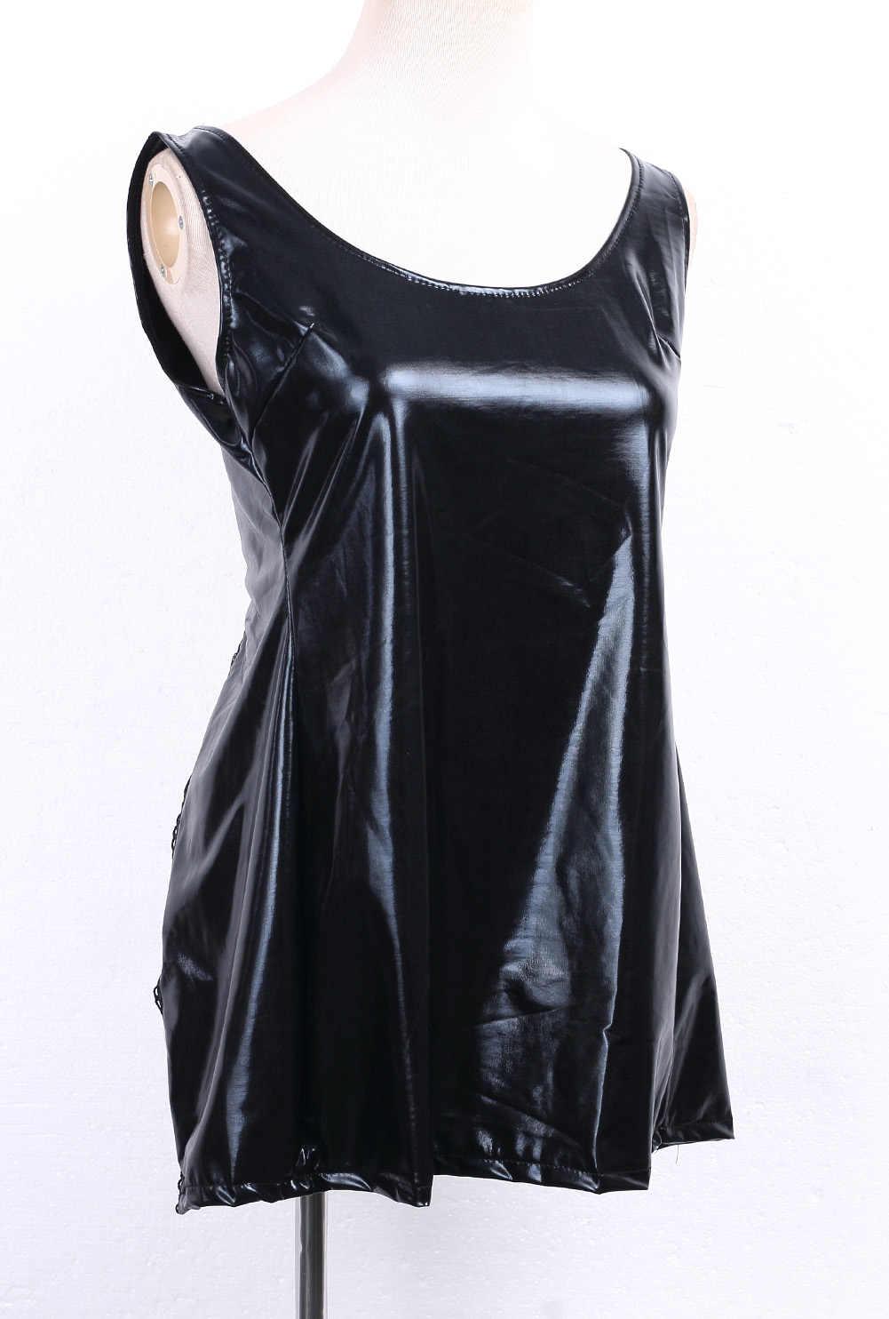 Gợi Cảm PVC Giả Da Câu Lạc Bộ Đầm Băng Mini Đầm Nữ Đen Clubwear Phối Ren Ướt Nhìn Clubwear Bán Buôn