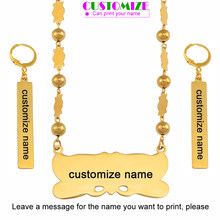 Anniyo Customize Name Pendant Beads Necklace Earrings Sets Marshall Sets Stainless Steel Custom Jewelry Micronesia Palau #059821(China)