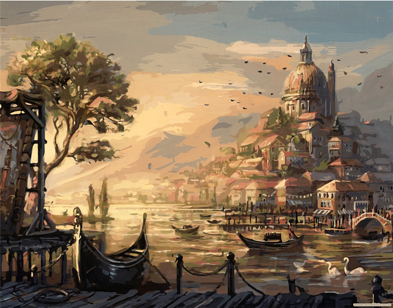 The twilight castle landscape Painting By Numbers Paint On Canvas Acrylic Coloring Painitng By Numbers For Home Wall Decoration