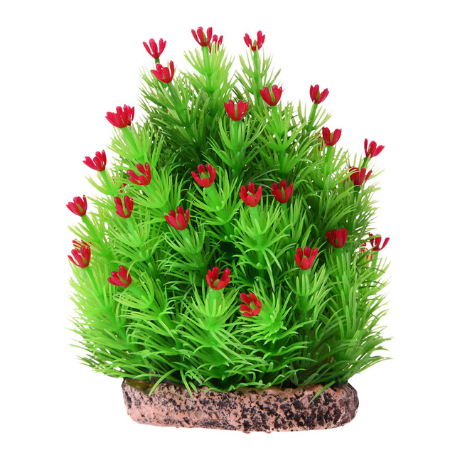 christmas tree artificial aquatic weed simulation aquarium fish tank decoration ornament 12 x 10 x 5cm - Christmas Aquarium Decorations