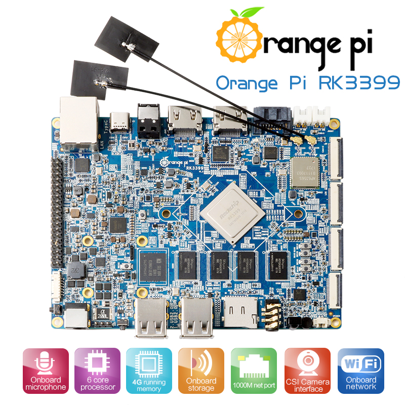 Orange Pi RK3399 4GB DDR3 16GB EMMC Dual Core Cortex-A72 Development Board Support Android 6.0 Звуковая карта