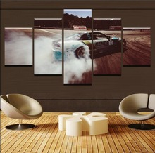 Framework Modern Canvas For Living Room Wall 5 Panel Sports Car Drift Painting Modular Poster HD Home Decor Printed Pictures Art