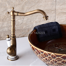 Retro Style Brass Tall Long Neck Bathroom Basin Mixer Taps Deck Mounted Single Ceramic Handle Basin