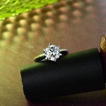 AINUOSHI 10K Solid White Gold Wedding Solitaire Ring Simulated Diamond Aneis Feminino Fine Jewelry Women Engagement Rings