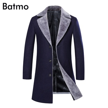 Batmo 2018 new arrival winter high quality thick warm wool casual skinny jacket men,wool trench coat men 8901