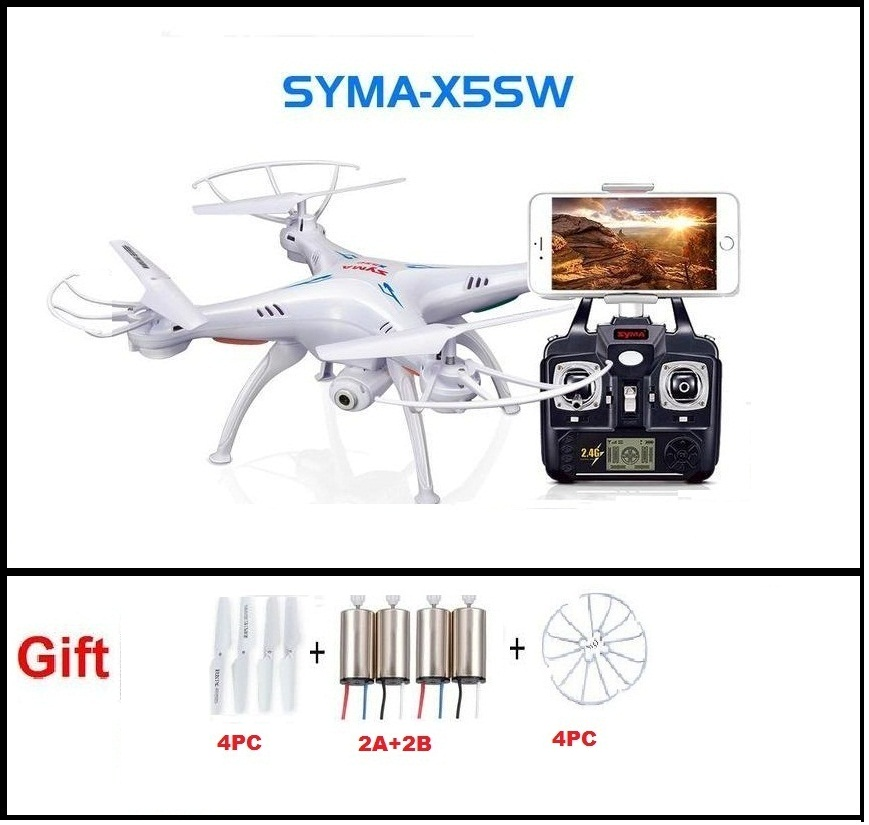 SYMA X5SW FPV RC Quadcopter Drone with WIFI Camera hd 2.4G 6-Axis Dron RC Helicopter Toys With Full Capacity 1 Battery VS H8C syma x5sw 4ch 2 4ghz 6 axis rc quadcopter with hd camera hovering headless mode rc drone 1200mah battery prop 4pcs motor 2pcs