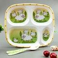 Новый высокое качество Кормление Пластины цельный Меламиновой Плиты Лоток Посуда Держатель для Пищевой Малыш Малыш Дети пластина + Ложка