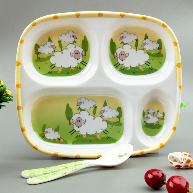 Baby Feeding Plate Cute Service Plate Melamine Plate Tray Dishes Food Holder for Baby Toddler Kid : melamine dinnerware kids - pezcame.com