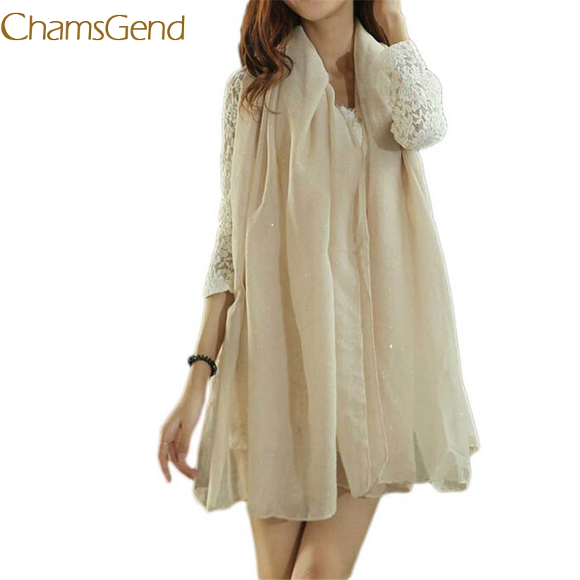 Chamsgend Newly Design Green Beige Women Sequins Leisure   Scarf     Wrap   Shawl Plain Colour   Scarves   180CM May18 Drop Shipping