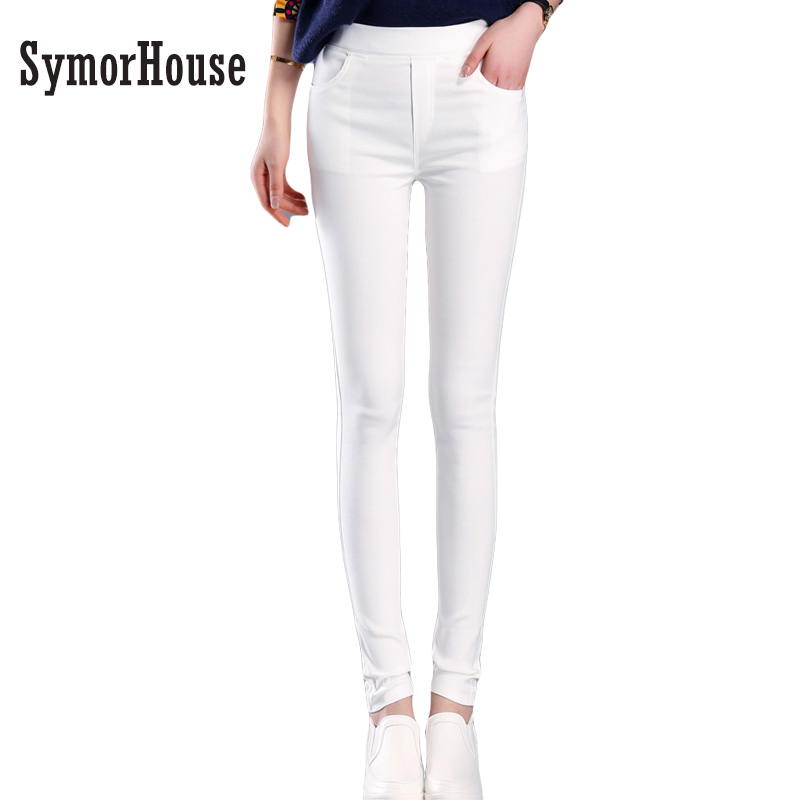 SymorHouse New Fashion Hot sale Plus Size Womens Clothing 3XL White Pencil Pants Ladies Cotton High Waist Elastic OL Trousers