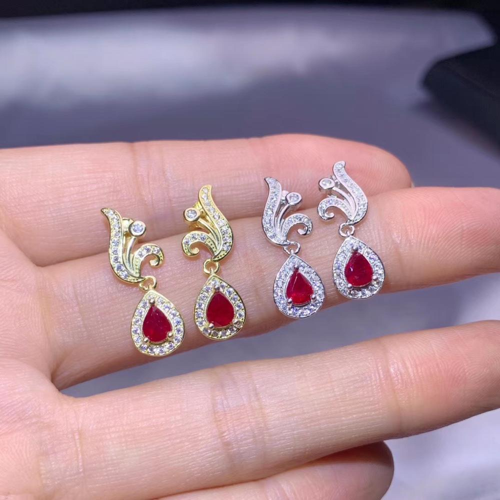 elegant red natural ruby gemstone stud earrings for women earrings 925 sterling silver ring gold plated color girl birthday gift