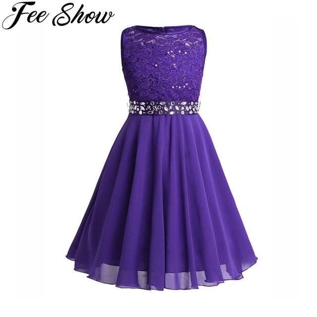 a7295c69a6d8 Girls Sequined Floral Lace Chiffon Dress Princess Formal Bridesmaid ...